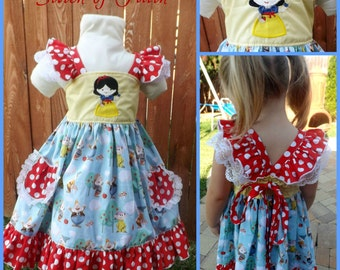 Snow White and Friends Flutter Dress Custom Size 12mo - 8