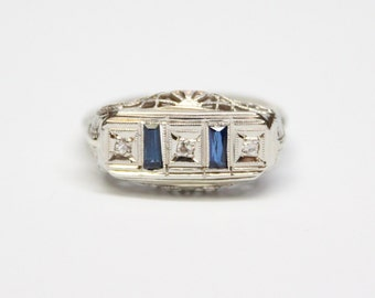 Art Deco 14k White Gold Sapphire and Diamond Saddle Ring with Filigree