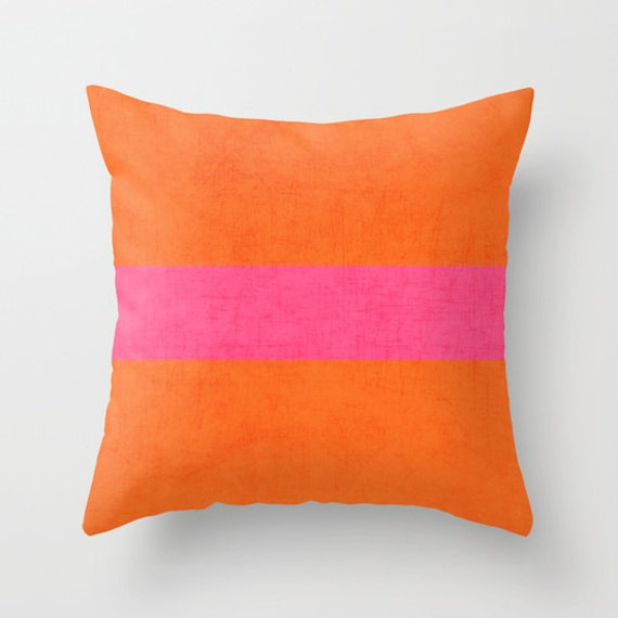 Pink And Orange Decorative Pillows : Orange and Hot Pink Classic Throw Pillow by LushTartArtProject