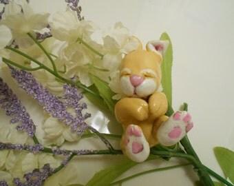 Ooak Art Handmade Pure Sculpt Sleeping Easter Baby Bunny.