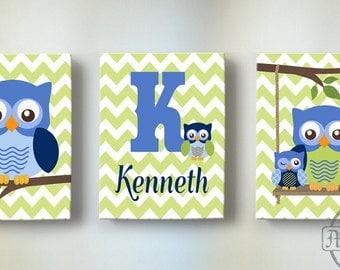 Blue Green Owl Nursery Wall Art,Personalized Set of three Canvas art, Baby Nursery Decor