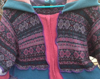 Lovely Upcycled Wool Sweater Coat Inspired by Katwise