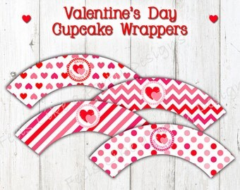 Valentine's Day Cupcake Wrappers - Instant Download