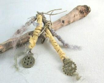 Silk  Dangle Earrings, Tribal Earrings, Gypsy earrings, Boho Jewellery,  Unique, OOAK