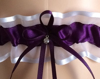 Wedding Garter, Bridal Garter, Plum Purple and White Organza Garter, Keepsake Garter, Prom Garter, Garters