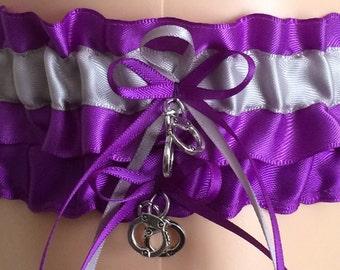 Purple and Silver Garter Set, Wedding Garter, Prom Garter, Bridal Garters, Keepsake Garter, Weddings, Bridal Accessories