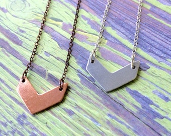 Minimalist necklace, chevron necklace, one word necklace, tiny chevron necklace, geometric necklace, simple necklace
