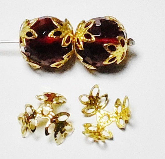 50pcs Gold Filigree Bead Caps Three Leaf Bead Caps DIY Jewelry Making Beads & Beading Supplies FREE Combined Shipping