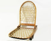 Wooden Woven Mesh Canoe Seat w Backrest, Detachable, Folding, Rustic Boating Décor, Boat Lake Fishing Cabin