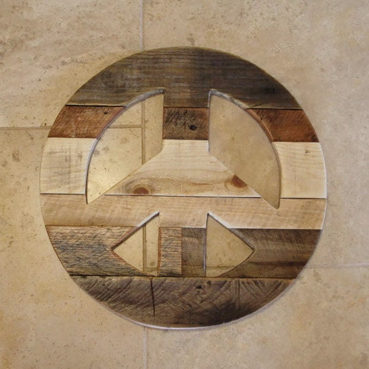 Peace Sign Reclaimed Pallet Wood Wooden Peace Sign Rustic