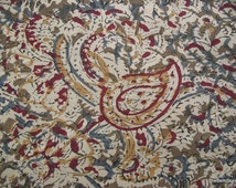 Extra Wide Paisley Print Indian Kalamkari hand printed Fabric by Yard