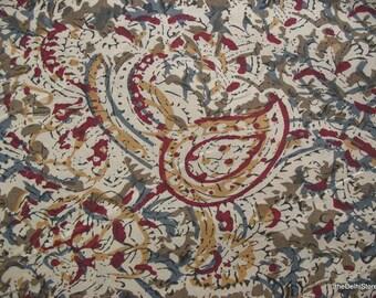 Extra Wide Paisley Print Indian Kalamkari hand printed Fabric by Yard