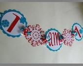 Winter Onederland I am 1 Banner, Winter Wonderland, Snowflake Birthday, Penguin Birthday, I am One Banner Red Aqua/Turquiose