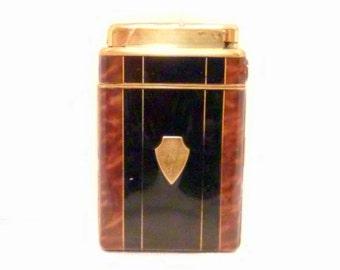 Art Deco Cigarette Case Lighter Bakelite Faux Tortoise Shell Marathon Brand @LootbyLouise