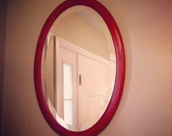 Deep Red Vintage Beveled Oval Mirror