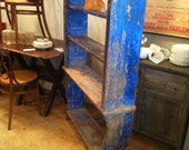 Antique Bookcase Gorgeous Old Blue Paint Circa 1910 SALE
