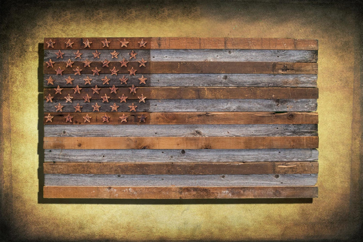 Vintage American Flag Wall Art barnwood american flag 100 year old wood one of a kind 3d