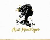 Cameo Girl Woman Silhouette Logo in black and gold foil text - Custom logo premade design