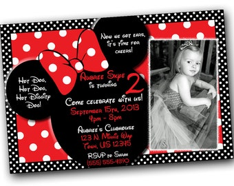 Minnie Mouse Invitations with AND Thank you card BUNDLE, Minnie Mouse Birthday, Red Minnie Mouse invitations, Minnie Mouse party