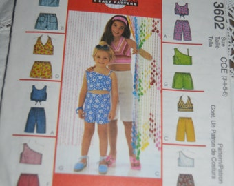 McCalls 3602 Childrens and Girls Tops and Pull On Shorts Sewing Pattern UNCUT Size 3 4 5 6