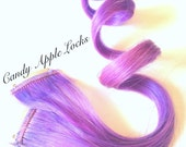 Hair Extensions LAVENDER Lilac Purple Pink Pastel, Rainbow,Clip in Human Hair Extensions RAVE edc festival hair