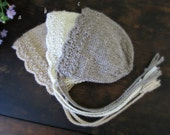 Eco Baby Bonnet - Newborn Girl Bonnet - Photo Prop - Angelina Undyed Alpaca