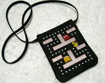Ms Pac Man Small Purse Crossbody Strap with Jewels - Womens Embroidered Black Denim Shoulder Bag - Geekery -  Ms Pac Man Game Purse