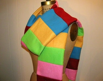 Long Fleece Scarf - Extra Long Red, Pink, Lime Green, Blue, Yellow Stripes Fleece Scarf - Accessories - Candy Colors Striped Scarf for Her