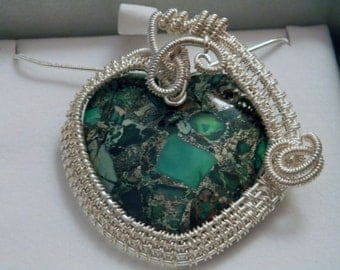 Green Picture Agate in Silver Wire - Handmade Wire-weaved Pendant with Gemstone