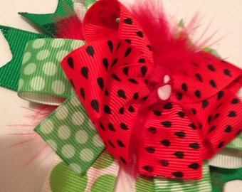Watermellon stacked Hair Bow-red