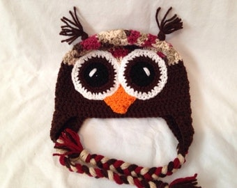 Red mix and Brown Owl Earflap Beanie