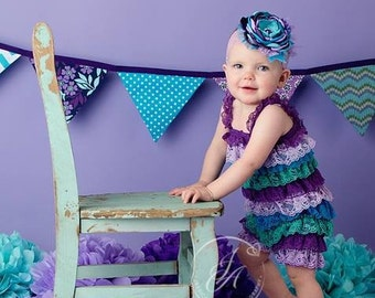 Baby Girl Lace Petti Romper Smash Cake Photo Prop or Birthday Outfit Straps, Colorful pettiromper Purple Green Blue Turquoise 9 12 18 Month