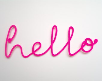 "Soft Neon Sign ""hello"" crochet cursive wire wall word"