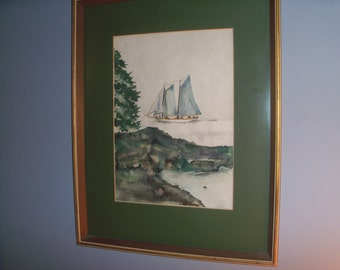Wonderful Large Framed Original Painting Sailboat Maine Green