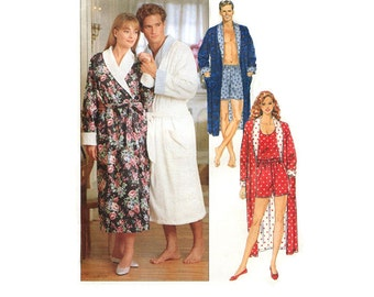 Mens Robe Pattern Butterick 5189 Size L-XL Bust/Chest 42-48 Unisex Loungewear Robe Shorts Tank Top 90s Style Pattern Uncut