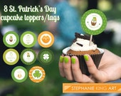 St. Patrick's Day Cupcake toppers, Printable Party Cupcake Toppers/Tags, Digital Download, DIY Party Favors, Owls, Irish theme, Cute Cupcake