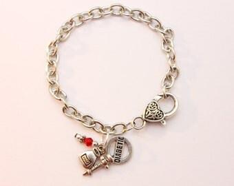 Diabetic Diabetes Medic Alert - Adjustable Silver Bracelet With Three Charms