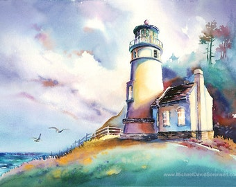 Morning at Heceta Head Light- Oregon Coast Watercolor Painting Print by Michael David Sorensen. Lighthouse Watercolor. Pacific Northwest