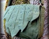 Leaf Bag Purse ~ Messenger School Book Bag ~ Green Cotton Canvas ~ Link Legend of Zelda LARP Renaissance Fair Festival LOTR Hobbit Elf Garb