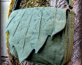 Leaf Bag Purse ~ Messenger School Book Bag ~ Green Cotton Canvas ~ Link Legend of Zelda LARP Renaissance Fair Festival Elf Garb