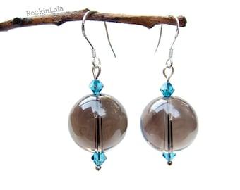 smoky quartz earrings - smokey quartz - swarovski crystal - sterling silver ear hooks - handmade by RockinLola