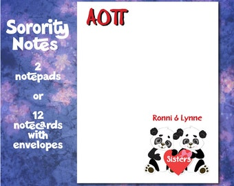 Personalized Notepads - Sorority Panda Logo by AMBillustrations - Sets of  2 or 4