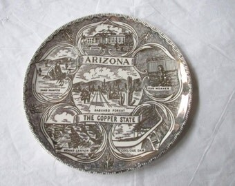 "7.25"" ARIZONA the COPPER STATE Collector's Plate, Gold Design on Coupe Shape"