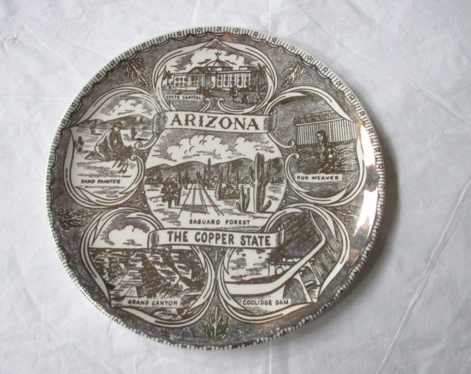 """7.25"""" ARIZONA the COPPER STATE Collector's Plate, Gold Design on Coupe Shape"""