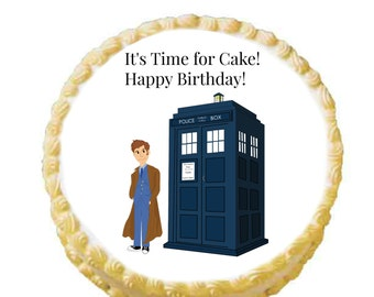 Dr Who Edible Cake Image Custom 8 inch Icing Circle - Little Hope Cakes LLC