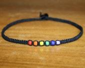 Rainbow Bead Black Hemp Choker Necklace - Toddler Necklace Toddler Jewelry Little Girl Necklace Little Girls Jewelry Gifts for Kids Necklace