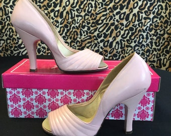 Fabulous 1940~1950's Peep Toe Pink Pumps~Sz.5.5-6