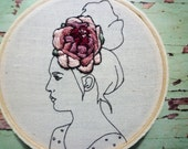 3 inch Hoop Art 'Lou' in Blueberry Floral Crown Embroidery