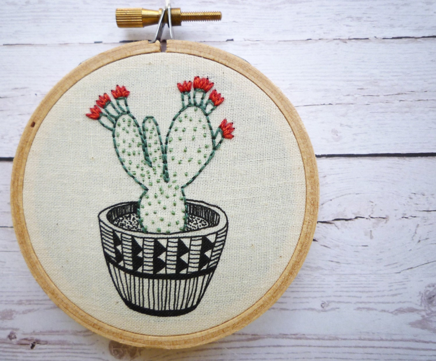 Inch hoop art cactus modern embroidery by cheese
