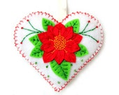 """CLEARANCE. FREE SHIPPING. Christmas Ornament """"Poinsettia"""" made out of felt. Decorated with beads. Heart cushion"""